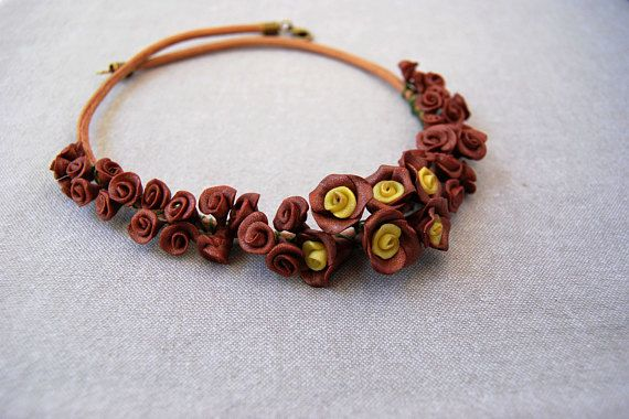Summer Necklace, Brown & Yellow, Summer Holidays, Bridesmaids Necklace, Birthday Gift, Gift for Her, Unique, Polymer Clay