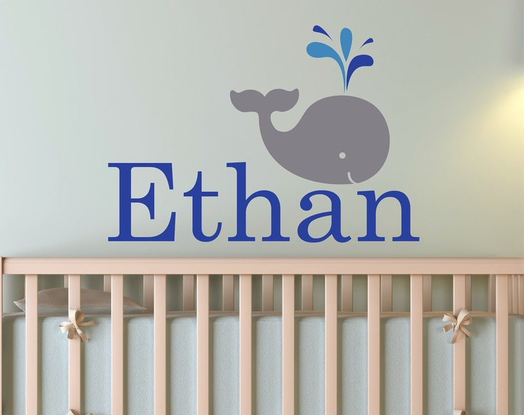Children Wall Decal Baby Whale With Personalized Name By Zapoart