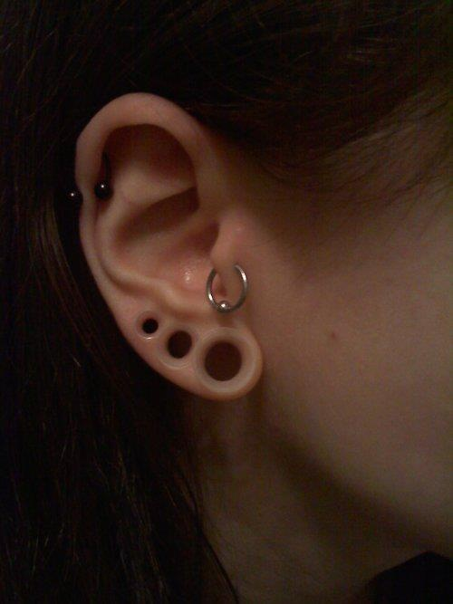 triple stretched ear with clear earskin eyelets. interesting effect.