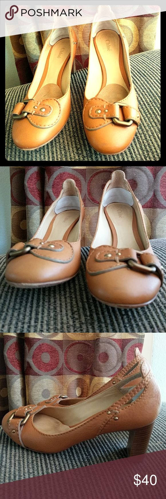 Chloe Brown Stacked Heel Pumps sz 7 Chloe Buckle Pumps ++Permanent marker/stickers on bottom ++ I wear a 7.5 and they are tight so definitely closer to a 7 with a narrower toe box Sz 38 Chloe Shoes Heels
