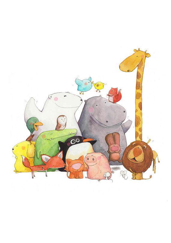 Cute Illustrations - Una stampa di un dolce gruppo di animali desiderosi di conoscerti, da unillustrazione originale di acquerello e inchiostro.    La stampa è A4 (29,7
