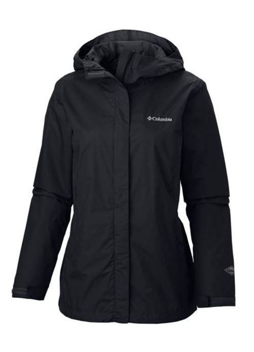 Women's Arcadia II Jacket in Black by Columbia Sportswear is a waterproof rain jacket that features Omni-Tech™ waterproof/breathable fully seam sealed, attached, adjustable storm hood, a drawcord adju