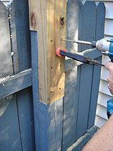 overlap joint to extend height of existing fence posts to support pergola