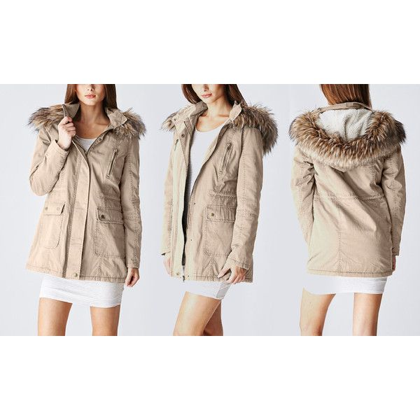 Women's Glamsia Women's Long Parka Jacket with Faux-Fur... ($22) ❤ liked on Polyvore featuring outerwear, jackets, beige, faux fur parka, faux fur jacket, beige long jacket, long parka and zipper jacket