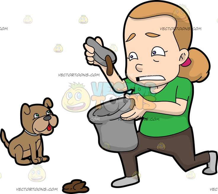 A Woman Placing Dog Poop In A Trash Bag:  A woman with blonde hair in ponytail wearing a green shirt dark brown pants and gray shoes down on her left knee while gritting her teeth in disgust as she picks up the brown shit of her cute brown dog using a gray scoop in her right hand as she dumps the poop in a gray bag in her left hand  The post A Woman Placing Dog Poop In A Trash Bag appeared first on VectorToons.com.  #clipart #people #cartoon #vector #vectortoons