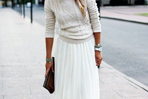 Cable-knit sweater + pleated maxi