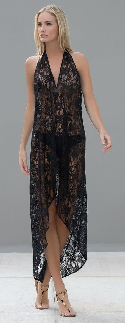 Cute Black Lace Coverup / Nightgown - Madison Coverup by Alexis