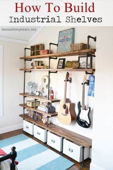 How to Build Industrial Shelves... I love the space to hang the guitars! This would be perfect in my music room.