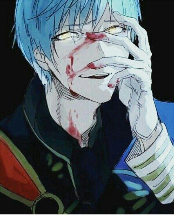 Anime boy, white hair, blood, foggy eyes, yellow eyes ...