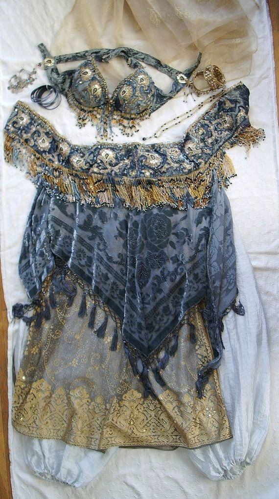 Exquisite  BELLY DANCE  Costume with Matching Jewelry by snazzy888, $965.00