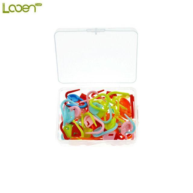 Looen Marca 50 Unids/caja De Plástico Que Hace Punto Del Ganchillo Locking Stitch Marcadores Pestillo Ganchillo Herramientas de Tejer Aguja de Gancho Clip Mixta Color