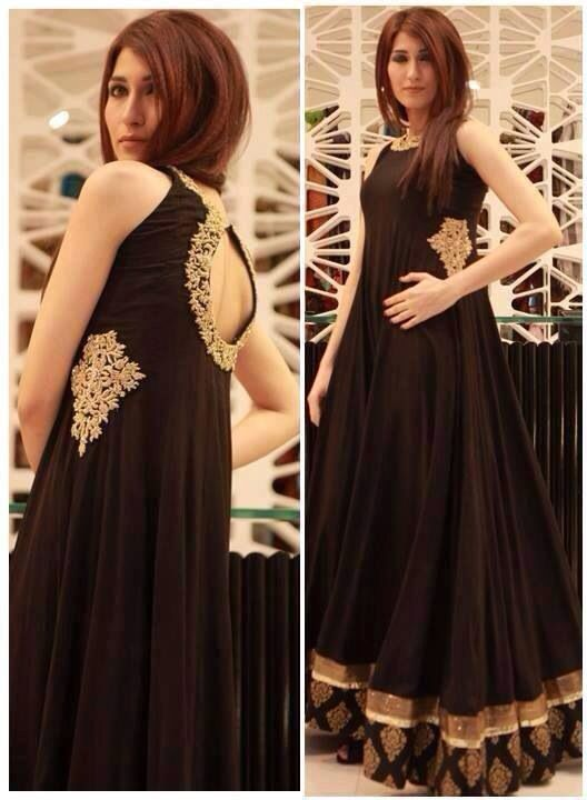 Black long frock party wear