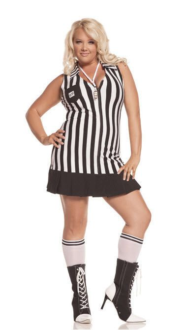ADULT WOMENS PLUS SIZE 1X / 2X SEXY REFEREE UMPIRE UNIFORM FANCY DRESS COSTUME #Rubies #Costume #halloween