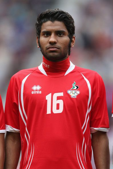 Rashed Eisa of the United Arab Emirates lines up before the Men's Football first round Group A Match of the London 2012 Olympic Games between UAE and Uruguay, at Old Trafford on July 26, 2012 in Manchester, England.