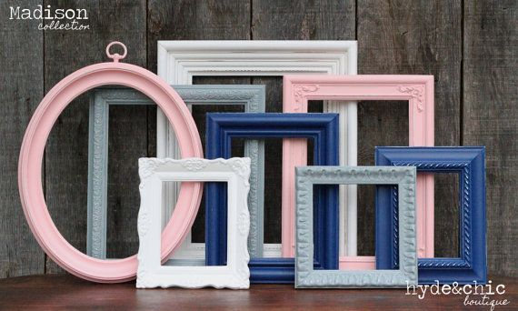 Pink and Navy Blue Baby Girl Nursery Frame Set / Shabby Chic Decor / Girl's Room / Distressed Picture Frame Set / Madison Collection on Etsy, $52.00