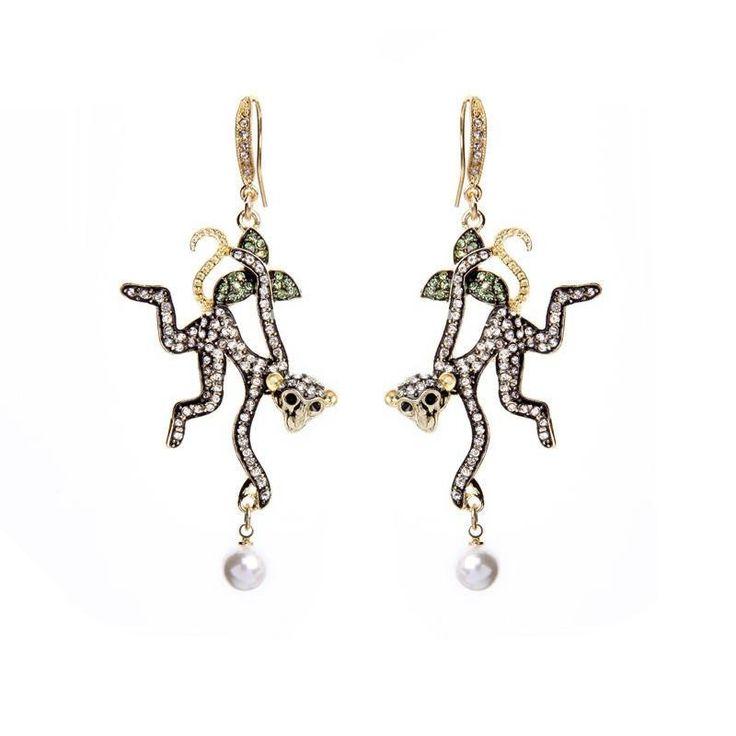 Fashion Drop Earrings - Zabel Gold Plated Monkey Design Drop Earrings With Rhinestone