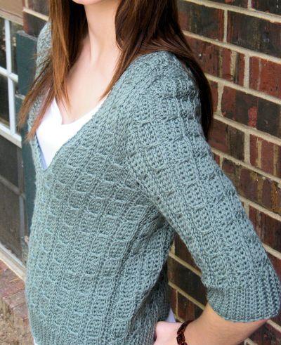 CrochetKim Free Crochet Pattern | Mock Cable Pullover @crochetkim