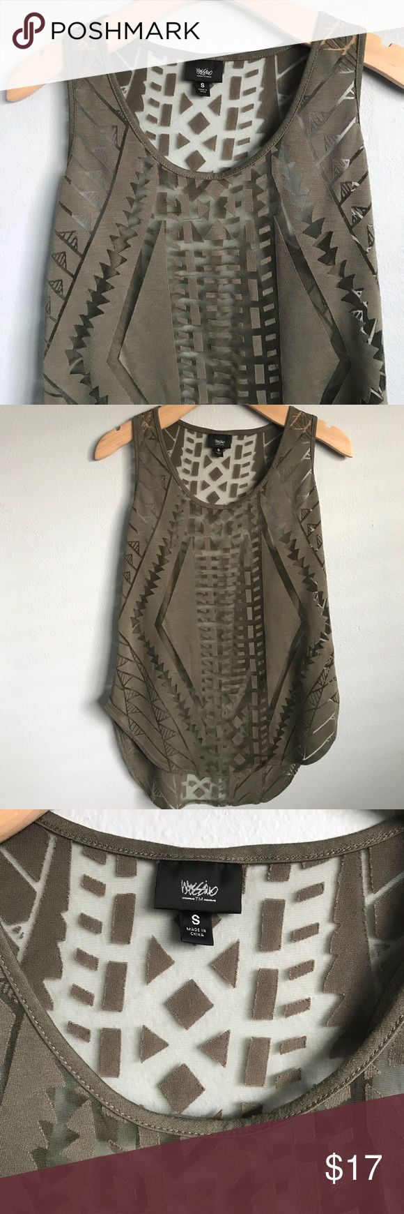 ❇️MOSSIMO❇️ Army green Aztec Print laser cut tank Awesome see-through Aztec laxer Print cut out tank! I'd totally rock this but it's too small for me now. Size is small but runs slightly oversized✨ Wear as a bikini Coverup or perfect with jean shorts and sandals! Great for a weekend get away🙌🏼 Mossimo Supply Co Tops Tank Tops