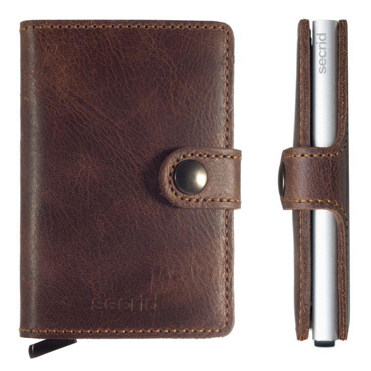 Liten lommebok i vintage brun
