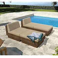 Park Terrace Saddle Strap Weave 4 Piece Lounger Patio Set