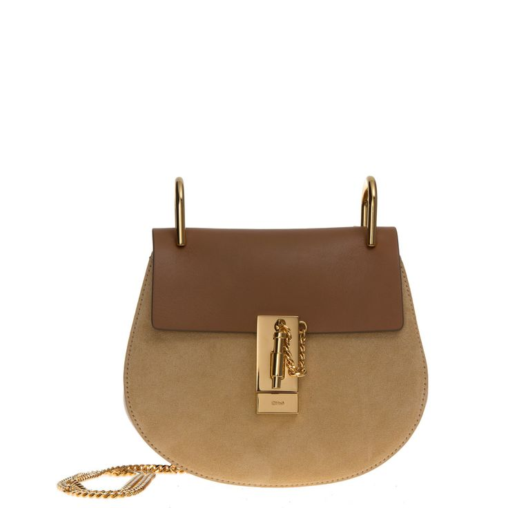 """The """"Drew"""" bag from Chloé is a little rounded crossbody bag on a metallic chain. Here it comes in milk coffee, with suede front panel and smooth leather flap. Gold-tone hardware."""