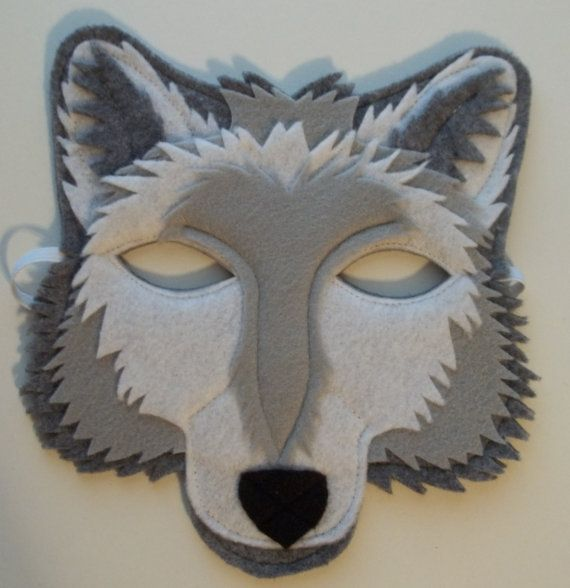 Grey Wolf Mask Felt Animal Mask by thekidzclothesline on Etsy
