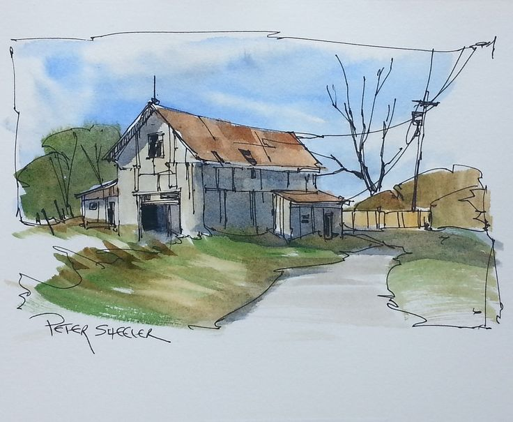 A line and wash Farm, barn scene. These are quickly ...