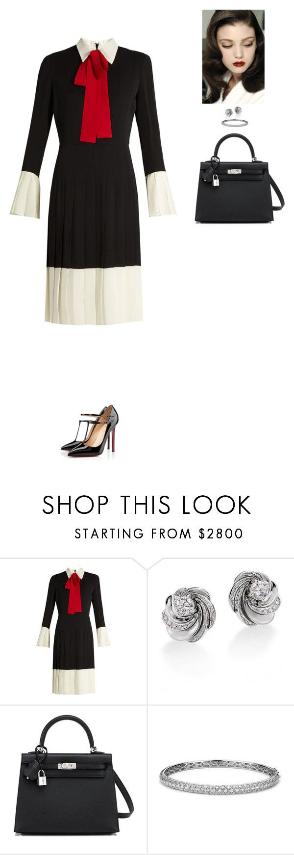 """Outfit 128"" by mickeysmit ❤ liked on Polyvore featuring Gucci, Christian Louboutin, De Beers, Hermès and Blue Nile"