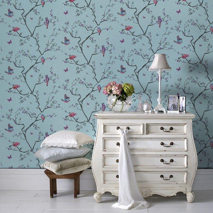 Fresco : #papierpeint #fleur #chambre.
