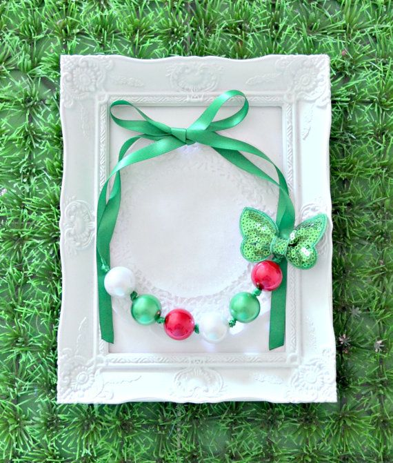 Christmas Chunky Bead Necklace - Red, Green and White Pearl with removable Green Sequin Bow and Green Ribbon Ties - Made to Order