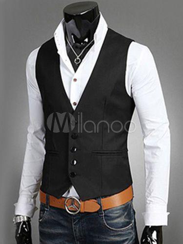 Gilet de costume homme moulant unicolore en coton mélangé - Milanoo.com