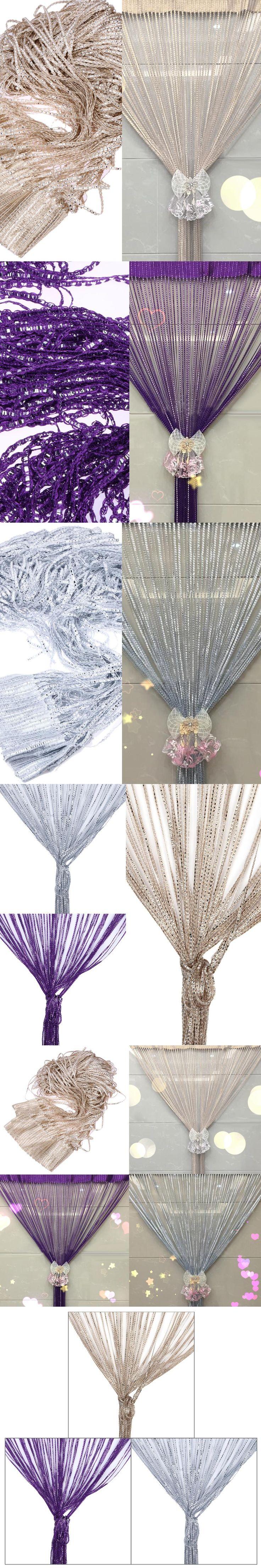 Shiny Crystal Bead String Curtain Silver Leather Line Tessel Curtain Window Door Divider Sheer Curtain Valance Wedding HomeDecor