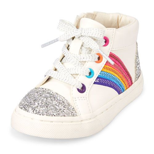 7538fb8184eb3e Toddler Girls Glitter Rainbow Rockstar Sneaker