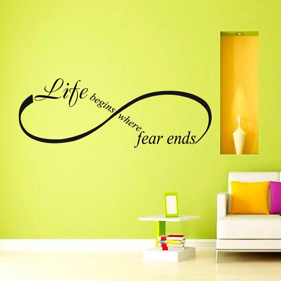 Life begins where fear ends OSHO Quote Yoga Wall by CozyDecal