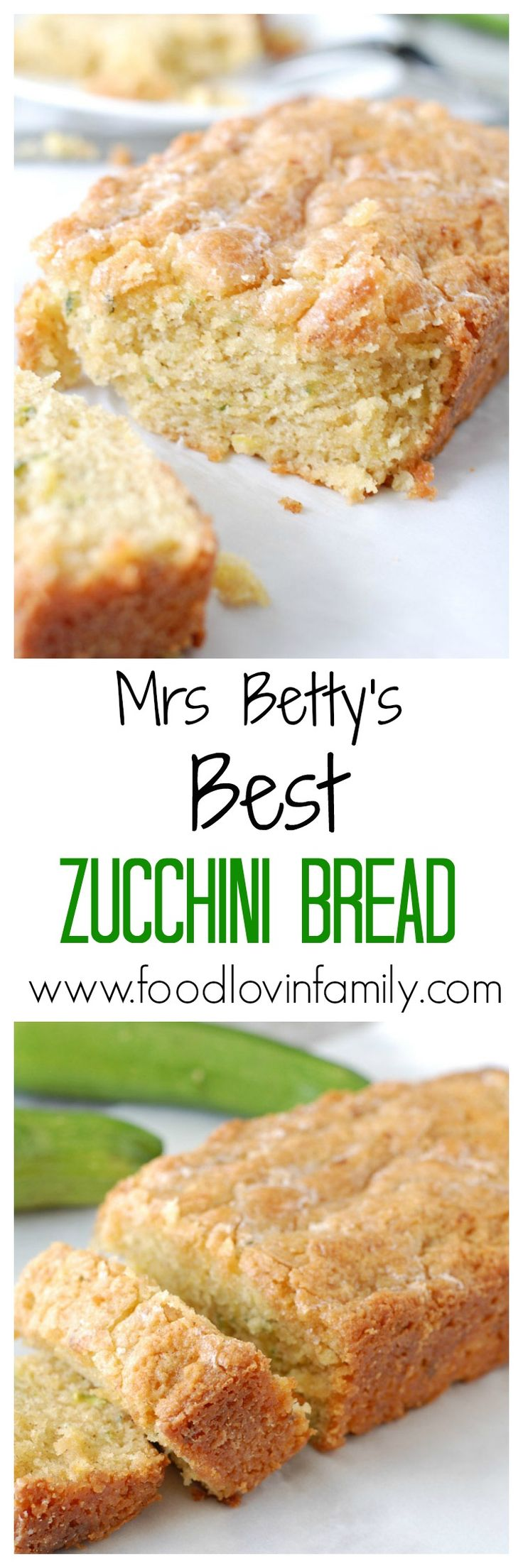 Mrs. Betty makes THE BEST Zucchini Bread and uses a secret ingredient to add moisture and flavor. This recipe is the best zucchini bread you will make! Have it with coffee for breakfast. Yum! http://www.foodlovinfamily.com/mrs-bettys-best-zucchini-bread/