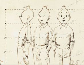 This wonderful original 1940 drawing of Tintin was to help make a toy statue. It's quite brilliant. On auction 4th July http://www.mondriansroom.com/journal/tintin-from-all-sides.html