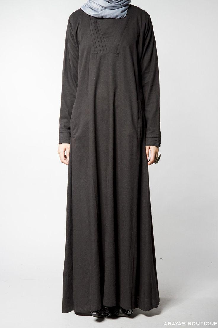 Black Linen Pleated Neck Abaya