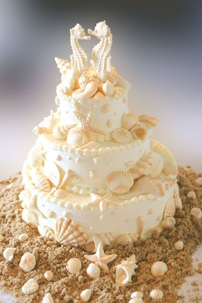 beautiful wedding cake with sugar sea shells and 'brown sugar' sand base.  Delicate sugar seahorses top the cake