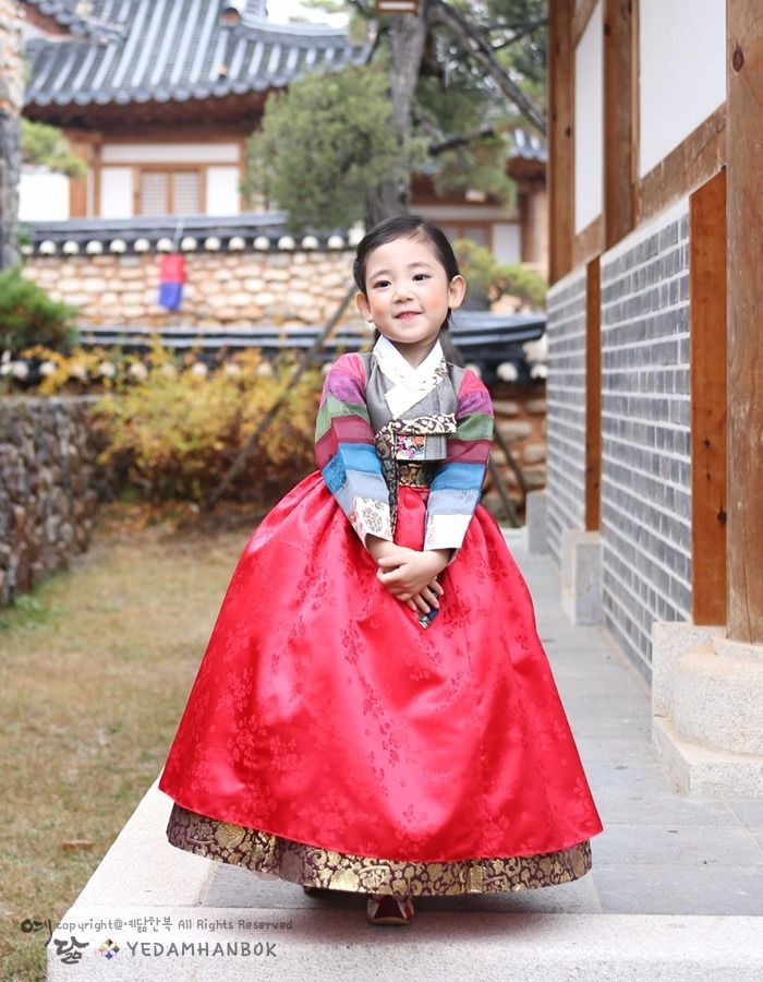 Hanbok Girl Korean traditional Dress Korea Baby 1st birthday Party Rainbow Red…