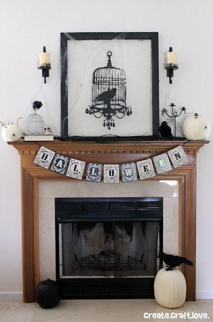 Edgar Allen Poe Inspired Halloween Mantel via createcraftlove.com