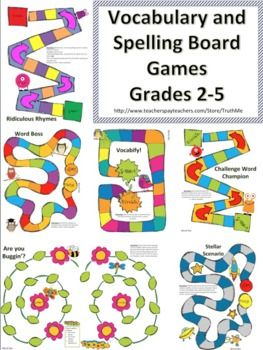 VOCABULARY AND SPELLING BOARD GAMES FOR ENGAGED SPELLING CENTERS - TeachersPayTeachers.com