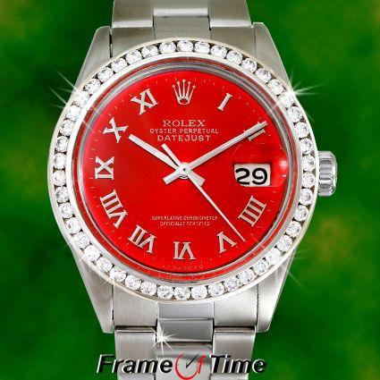Rolex Mens Datejust Red Oyster Date Diamond Stainless Steel Roman Quickset Watch #Rolex #LuxuryDressStyles