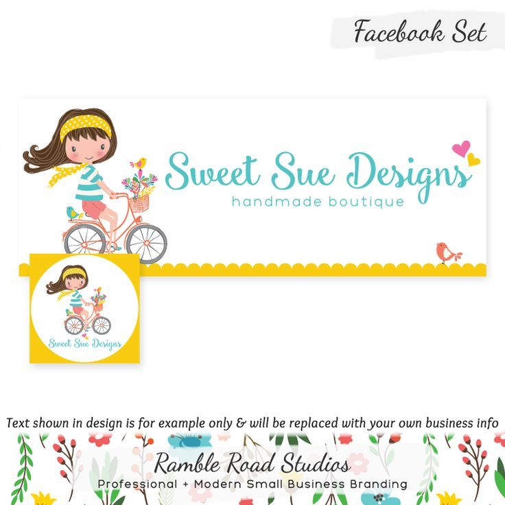 Bicycling Girl & Flowers Cover & Profile Image for Facebook Use – Customized wit…