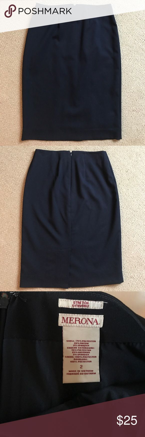 Navy pencil skirt Navy pencil skirt. New condition. Skirts Pencil