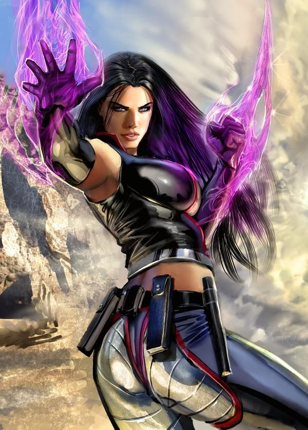 "Elizabeth ""Betsy"" Braddock -Code Name-Psylocke. Mutant Abilities: Precognition, Telepathy,Telekinesis, Psychic katana, Psychic knife. Highly skilled martial artist"