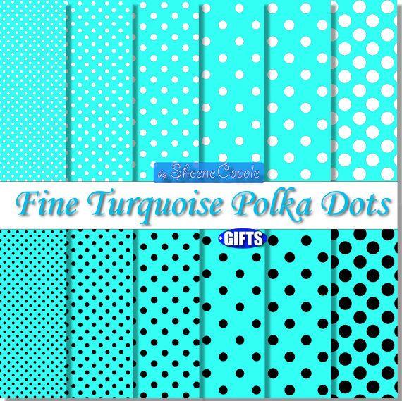50%OFF Light Blue Polka Dot Turquoise Digital Paper scrapbook backgrou