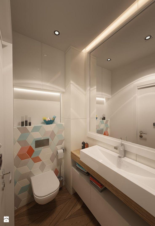 Aranżacje wnętrz - Łazienka: Mała łazienka z kolorowym akcentem - art inside - studio projektowania wnętrz i ogrodów. Przeglądaj, dodawaj i zapisuj najlepsze zdjęcia, pomysły i inspiracje designerskie. W bazie mamy już prawie milion fotografii!