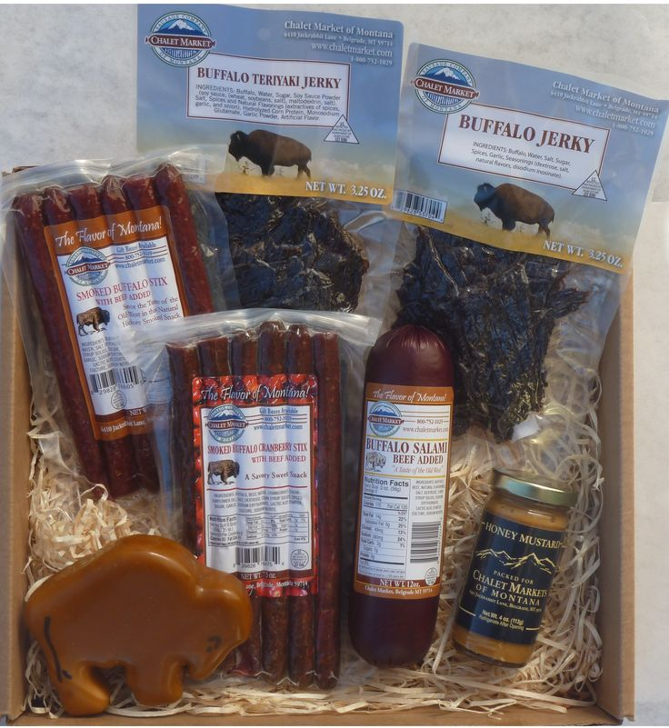 Where the Buffalo Roam Gift Box. A great assortment of our buffalo products.  Buffalo snack stix & jerky plus a buffalo shaped cheese & our buffalo salami!