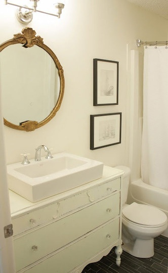 .: Vintage Mirror, White Dove, Bathroom Reveal, Old Dressers, Benjamin Moore White, Bathroom Vanities, Rose White, White Bathroom, Design Schools