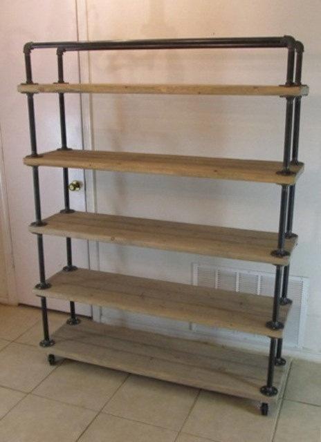 shelf cart 5 tier reclaimed wood steel pipe weathered. Black Bedroom Furniture Sets. Home Design Ideas